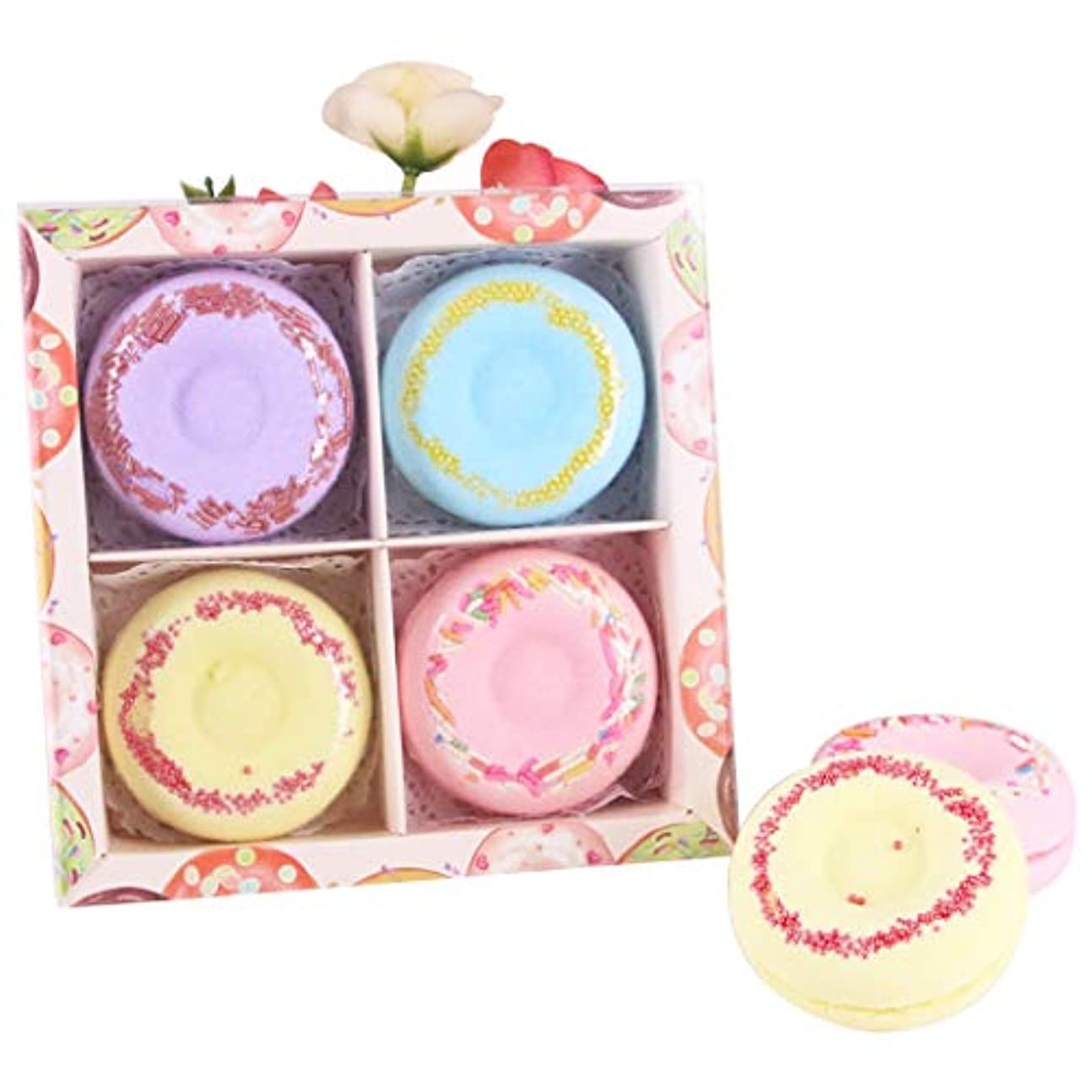 熱帯のテーマどこでもFunpa 4枚セット 入浴剤 入浴ボール ドーナツ型 可愛い 精油 香り残す バレンタインデー 彼女のプレゼント お風呂用