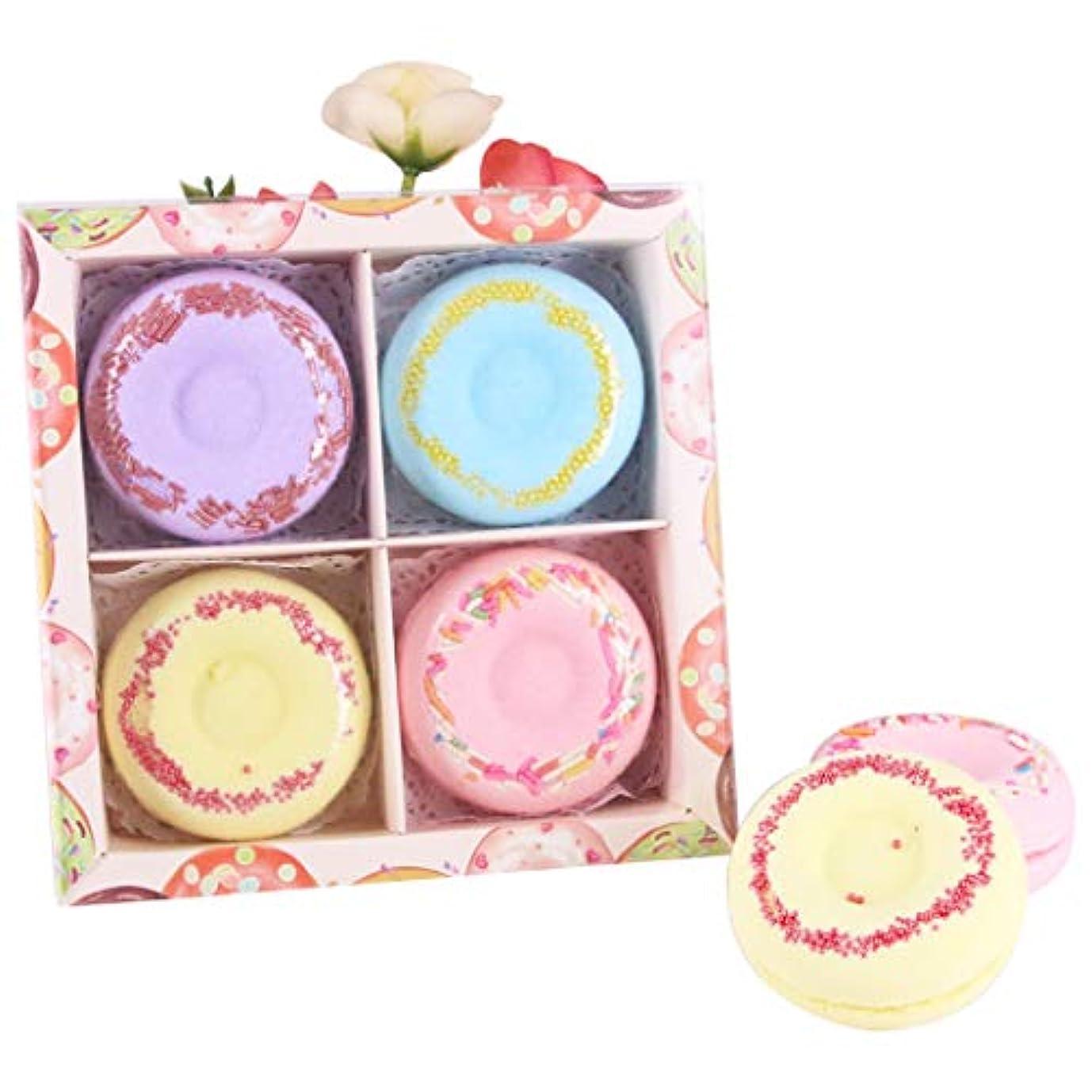 倒錯鋼ハブFunpa 4枚セット 入浴剤 入浴ボール ドーナツ型 可愛い 精油 香り残す バレンタインデー 彼女のプレゼント お風呂用