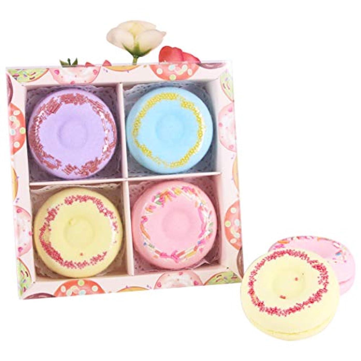 凍った秀でる効率的Funpa 4枚セット 入浴剤 入浴ボール ドーナツ型 可愛い 精油 香り残す バレンタインデー 彼女のプレゼント お風呂用