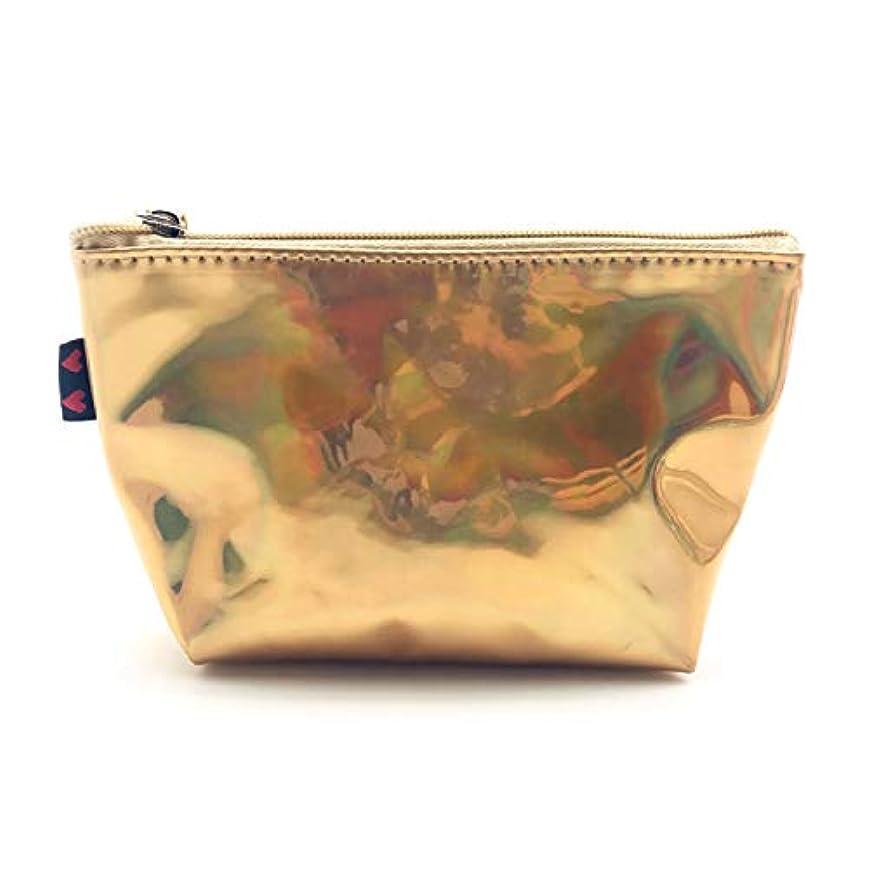サークル調和ペンスOU-Kunmlef 実用的な新リーフ小レーザーメイクアップポータブル旅行バッグ化粧品の女性`(None gold)