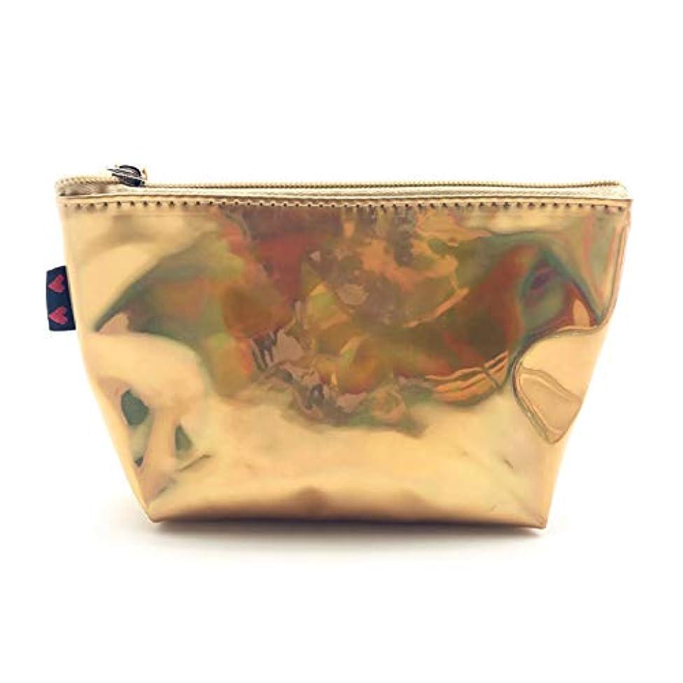 落胆した秘密の適切なOU-Kunmlef 実用的な新リーフ小レーザーメイクアップポータブル旅行バッグ化粧品の女性`(None gold)