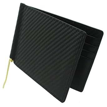 スマートな大人の男性へ 【 レザースリム マネークリップ 】 薄い 財布 本革 2つ折り財布 (カーボンレザー×ブラック)
