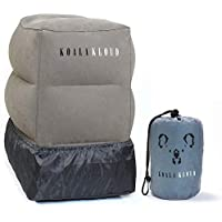 Inflatable Travel Foot Rest Pillow - For Airplane & Car Travel Portable Ottoman Leg Rests for Home & Office Inflated Stool for Kids to Fly with Legs Up & Lay Down on Long Flights - by Koala Kloud