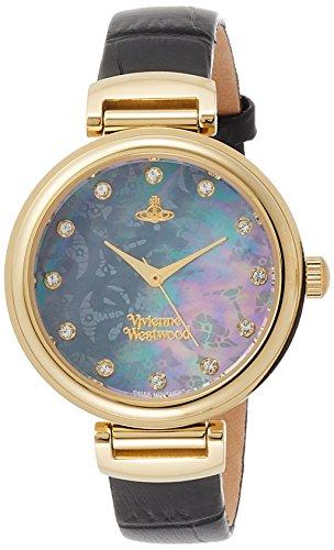 [ヴィヴィアンウエストウッド]Vivienne Westwood 腕時計 TateWrap ブラックシェル文字盤 黒革 クォーツ VV128GDBK レディース 【並行輸入品】