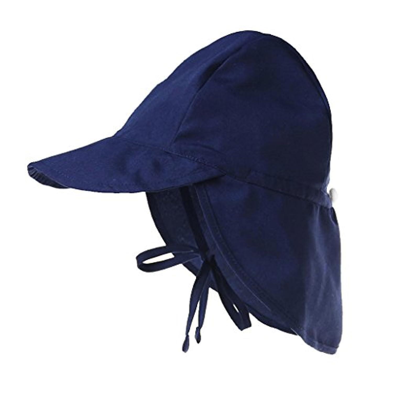 B Blesiya 全4色 UV 帽子 日よけ サンハット フラップ付 赤ちゃん ベビー 子供 キッズ  男の子 女の子 軽量 紫外線対策 全2サイズ - 海軍, S
