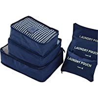6pcs Travel Packing Bag Space Saver Bags Cubes System Durable Travel Luggage Packing Organizers Clothes Storage Bag with Laundry Bag (Dark Blue)