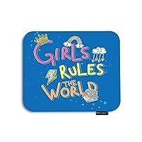 ブルーマウスパッドレインボークラウドレインクラウン引用付き女の子ルールザワールドゲーミングマウスパッドラバー大型マウスパッドコンピューターデスクラップトップオフィスワーク7.9x9.5インチ