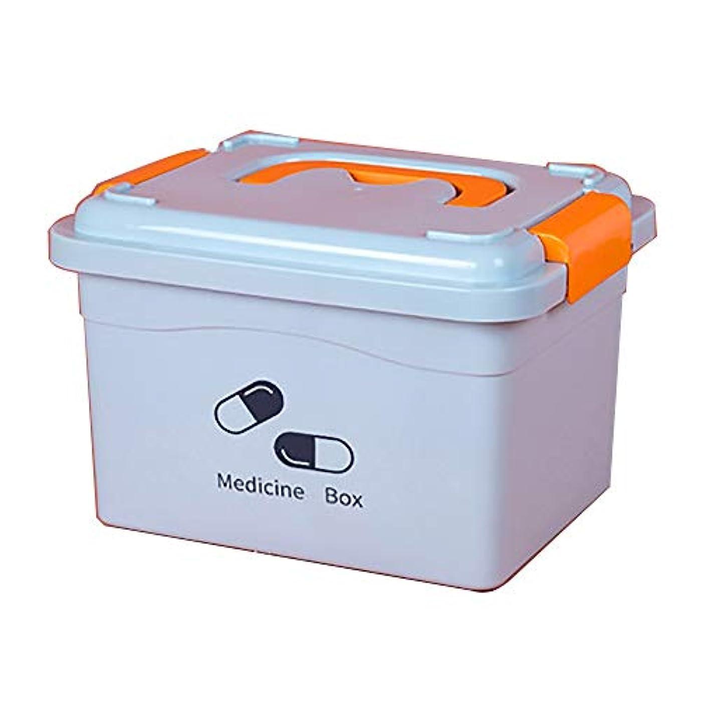 けがをする絶滅無傷ZHILIAN& 救急薬収納ボックスポータブル大容量家庭用プラスチックこども用薬箱多層収納ボックス (Color : Blue, Size : 21.5x19x13.5cm)