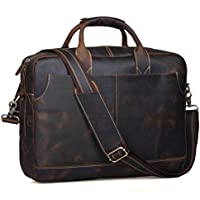 Genuine Full Grain Leather Men's 17 Inch Laptop Briefcase Messenger Bag Tote