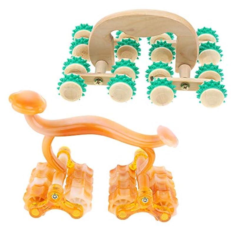 カウントアップ交通教科書Baoblaze 指圧 マッサージローラー 耐久性 痛み緩和 顔/背中/ボディ用 使いやすい 2個セット 木製 快適