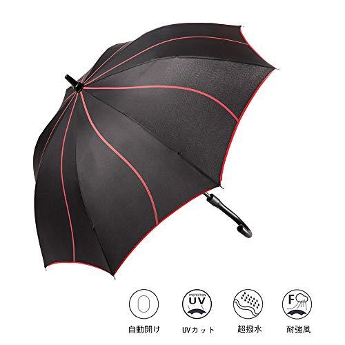 ゴルフ傘 瑾秀の長傘 日傘 雨傘 晴雨兼用 紳士長傘 自動開け 男の子用長傘 ステッキ傘 二層傘骨構造 耐風 210T撥水加工 軽量 梅雨対策 (ブラック)