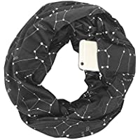 Pocketed Scarf Infinity,Aolvo Zippered Scarf Star Infinity Scarf with Hidden Zipper Pocket,Convertible Travel Pocket Scarf Soft & Fashion for Men/Women Black