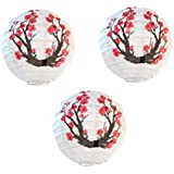 Uonlytech 3pcs Paper Lantern Round Plum Blossom Pattern Hanging Paper Lamp for New Year Festival Christmas Decoration (Red White)