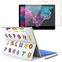 Surface pro6 pro2017 pro4 専用スキンシール ガラスフィルム セット 液晶保護 フィルム ステッカー アクセサリー 保護 ユニーク アルファベット カラフル 文字 008855