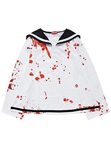 (エーシーディーシーラグ) ACDC RAG ブラッドLSセーラー 長袖 セーラー セーラー服 病みかわいい 血のり 血液 コスプレ 衣装 パンク 原宿系 (ホワイト)
