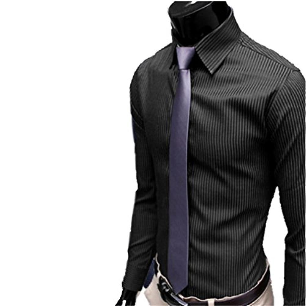 事業内容横向き孤独Honghu メンズ シャツ 長袖 ?士ストライプ カジュアル 黒白+ボーダー L 1PC