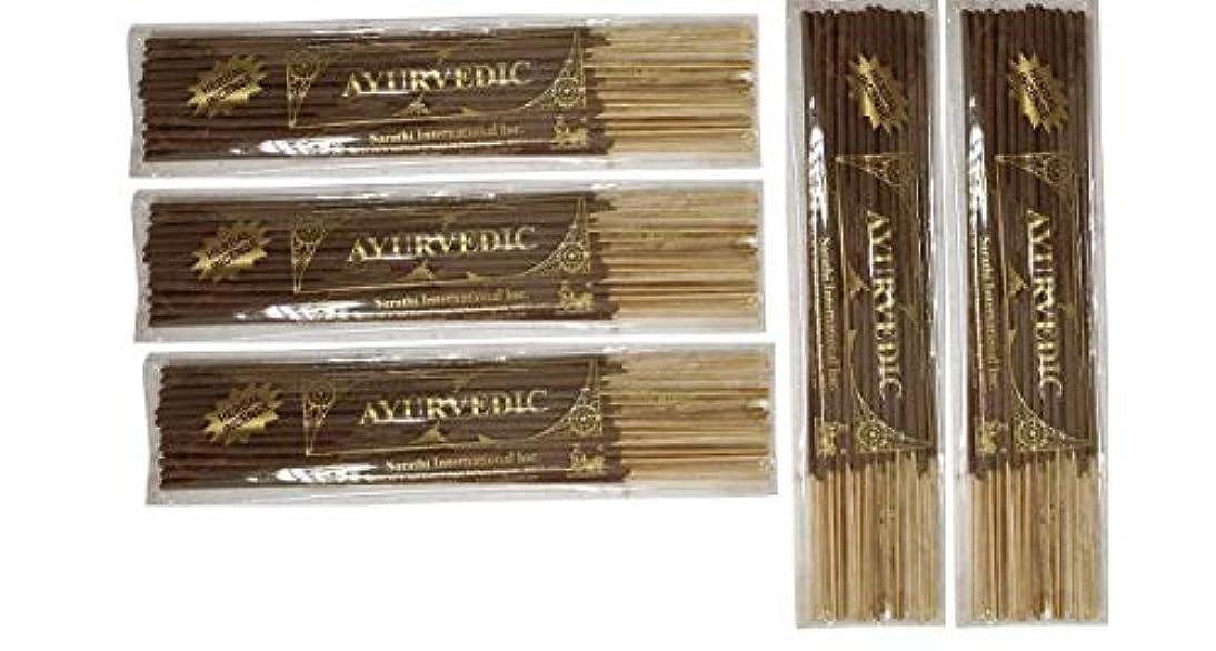 日帰り旅行に予感愛人Buddha Crafts Ayurvedic Incense Sticks, 125 gms – 5のセット。。。