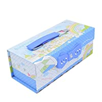 (Colour City, blue) - GOORCC Unique Creative Pencil Box, Pen Holder School Supply Storage Boxes with Number Lock