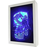 LEDライト ベッドライト テーブルランプ ナイトライト 7段階調光 室内照明 玄関 ベッドサイドランプ 常夜灯 卓上ランプ 夜間ライト 照明ランプ ライトボックス 3Dシャドウボックス 卓上スタンドライト ドラゴン KM012-0【こもれび】