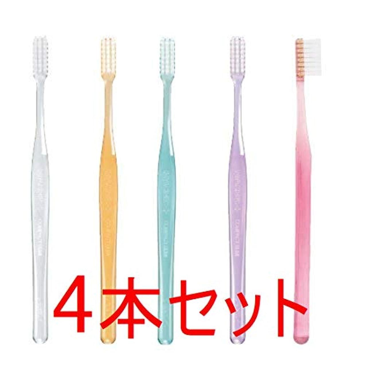 役職一目一GC プロスペック 歯ブラシ プラス コンパクトスリム 4本 クリアー色 (M(ふつう), おまかせ)