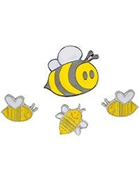 MJARTORIA 4 pcsクリエイティブかわいい漫画Mom Baby Beesミックスブローチセットノベルティエナメルラペルピン