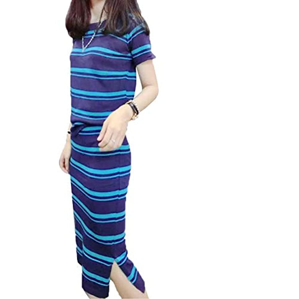知り合いになる震える姪[ココチエ] ツーピースセット ワンピース風 ボーダー ルームウェア 部屋着 リラックスウェア スカート トップス 半袖 ロング 膝丈