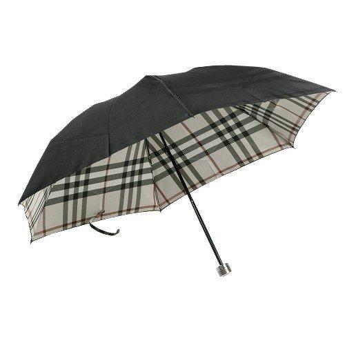 【BURBERRY】バーバリー 日本製 裏地ノバチェック婦人折りたたみ傘(雨傘) 黒×ベージュ