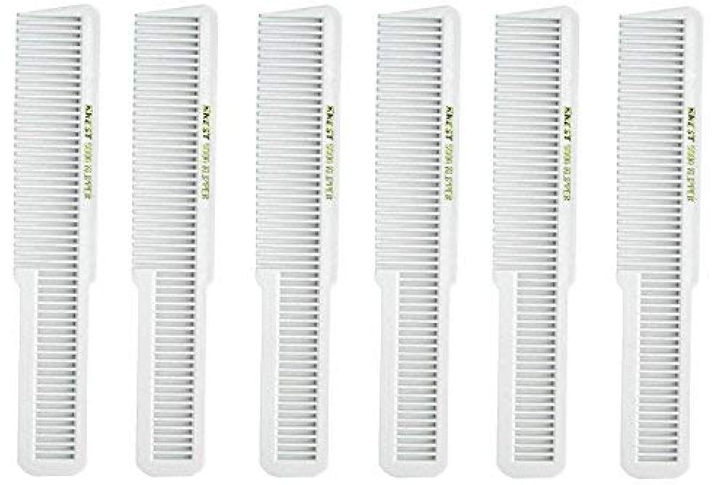 パズル立法未就学Barber Beauty Hair Krest 9000 Clipper Cutting Comb (6 Pack) 6 x SB-K9000-WHITE [並行輸入品]