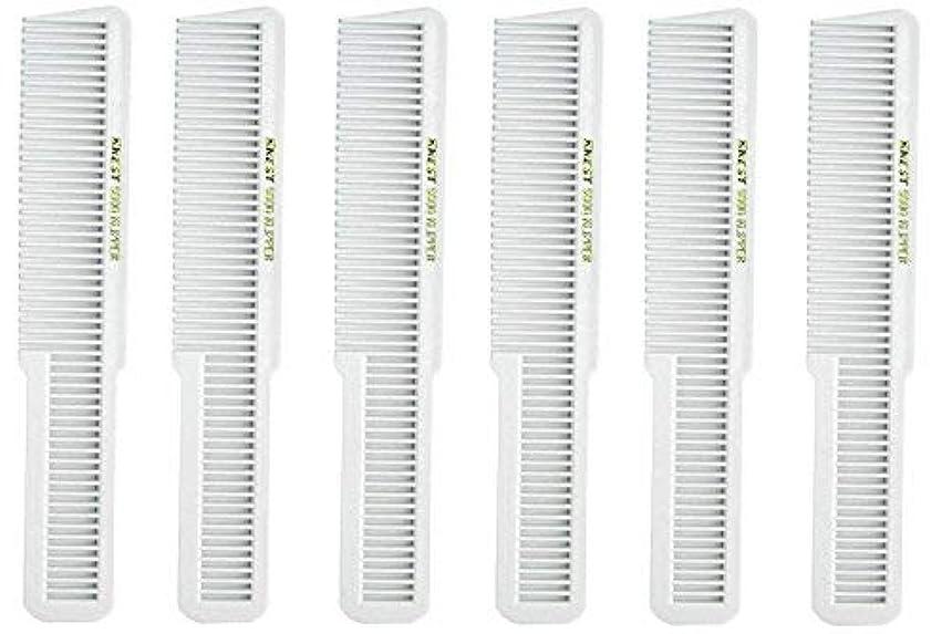 牛フレアベーリング海峡Barber Beauty Hair Krest 9000 Clipper Cutting Comb (6 Pack) 6 x SB-K9000-WHITE [並行輸入品]