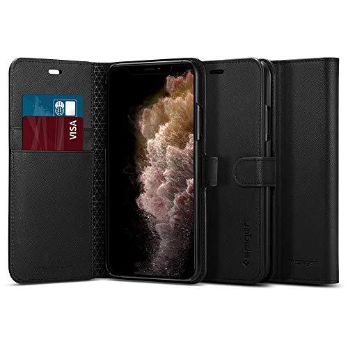 【Spigen】スマホケース iPhone 11 Pro ケース 手帳型 5.8インチ 対応 カード収納付き スタンド機能 ワイヤレス充電対応 ウォレットS サフィアーノ 077CS27247 (ブラック)