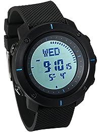 JewelryWe シンプル アウトドア 腕時計 スポーツウオッチ 12/24H表示 多機能 5ATM防水 アラーム LEDライト 簡約 ファション 登山 コンパス ブルー
