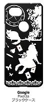 sslink Google Pixel 3a グーグル ピクセル3a ブラック ハードケース Alice in wonderland アリス 猫 トランプ カバー ジャケット スマートフォン スマホケース