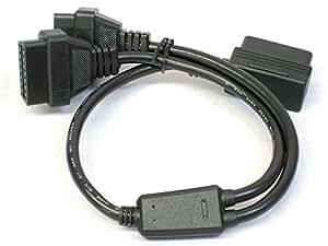 【ノーブランド品】OBD2用16PIN延長2分岐ケーブル L型メスカプラー