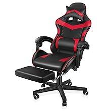 ゲーミングチェア ゲーム用チェア オフィスチェア パソコン 椅子PCチェア腰痛対策gaming chair長時間 楽 疲れない柔らかいPUレザー高弾性 上下昇降機能 レッドランバーサポート フットレスト付き ハイバック