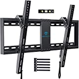 "PERLESMITH Tilt Low Profile TV Wall Mount Bracket for Most 32""-70"" LED, LCD, OLED and Plasma Flat Screen TVs - Holds up to132lbs, with VESA up to 600 x 400mm,Fits 16-24""Wood Studs,HDMI Cable Included"