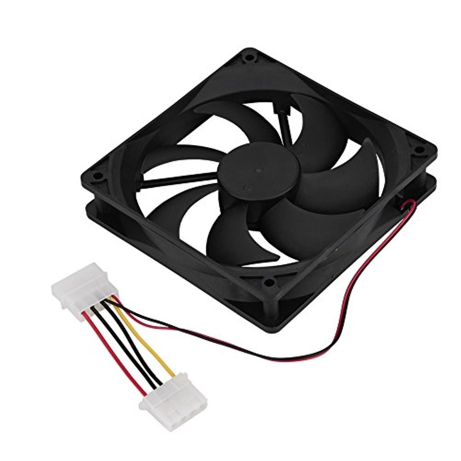 筋アクセスできない男PC冷却ファン2PCS 120mm 7ブレード高気流低ノイズ異なるデスクトップPC用の3ピン4ピン。(ダブルヘッド4pインターフェース)