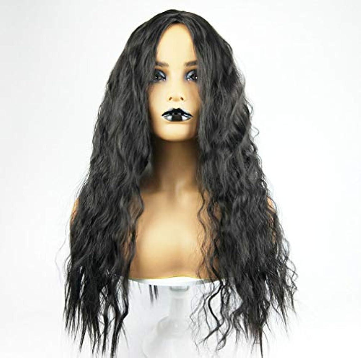 含意正規化補償女性かつらライトナチュラルウェーブロングカーリーウィッグコスプレパーティーリップルヘア150%密度ブラック65センチ