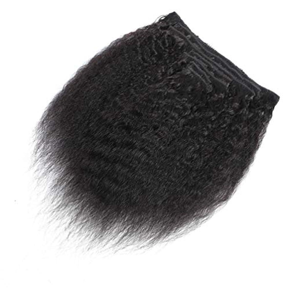 旋回橋脚占める100%リアルレミーの人間の毛髪延長ストレート7ピース/パッケージ標準横糸の女性フルヘッドクリップ