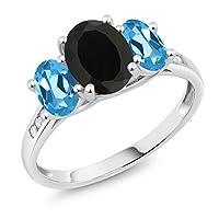 Gem Stone King 2.25カラット 天然 オニキス 天然 スイスブルートパーズ 天然 ダイヤモンド 10金 ホワイトゴールド(K10) 指輪 リング