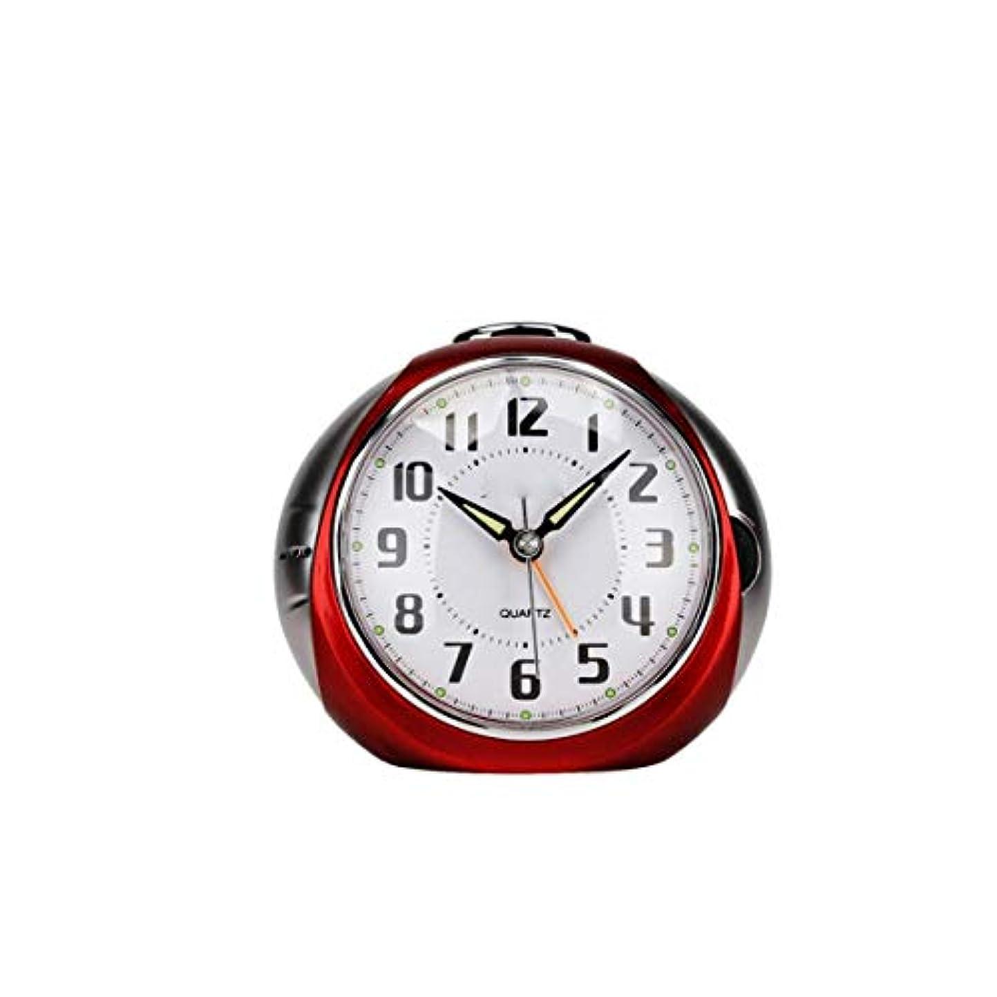 経験的やさしいくびれたQiyuezhuangshi001 目覚まし時計、電子時計、学生用クリエイティブ時計、多機能サイレント電子式小型目覚まし時計、発光ベッドサイドベル時計、青、 材料の安全性 (Color : Red)