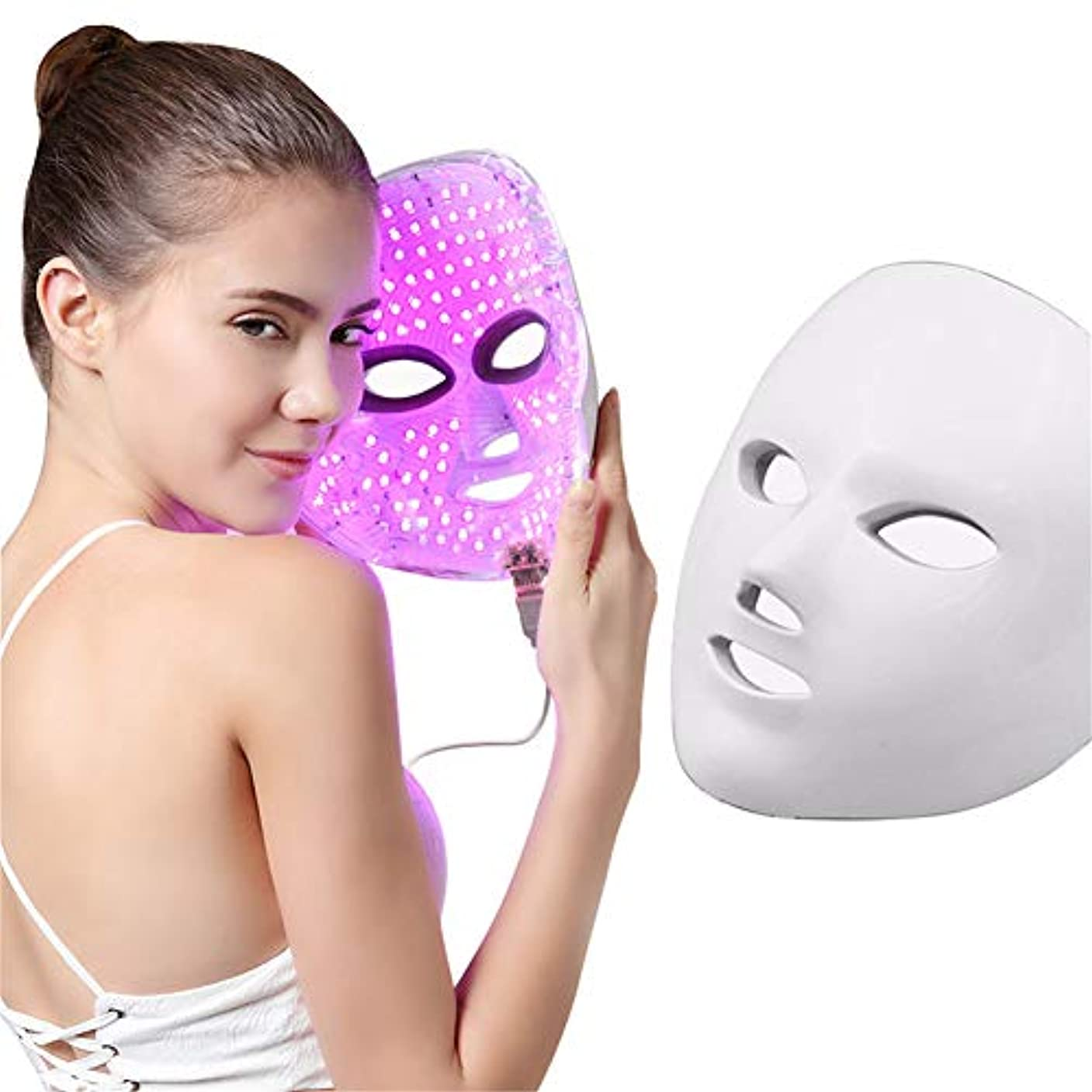十分に警告島7色ledマスク若返りにきび除去しわライト美容マスクled光線療法マッサージフェイシャルケア機付きリモコン
