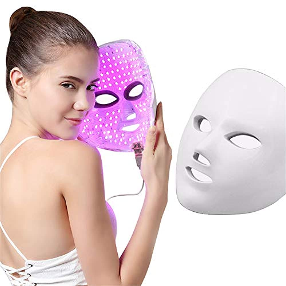 まだら理論的切り刻む7色ledマスク若返りにきび除去しわライト美容マスクled光線療法マッサージフェイシャルケア機付きリモコン