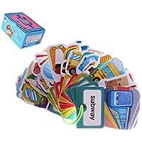 KESOTO フラッシュカード 英語 カード ワードカード 両面 野菜 果物 知育玩具 収納リング付き 全4種 - 乗り物