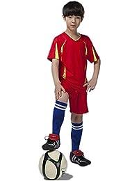 QD-WST ジュニアサッカーウェア 子供トレーニング 上下セット サッカーソックス1足付き 収納バッグ付き 半袖シャツ ハーフパンツ