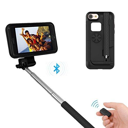 GTIMES JP iphone ケース Iphone6/7 (4.7インチ)自撮り棒付き 自撮り一体型ケース 収納便利 自画撮り 設定不要 電池不要 セルカ棒 カバー 有線 手元にシャッターボタン付き/ブラック