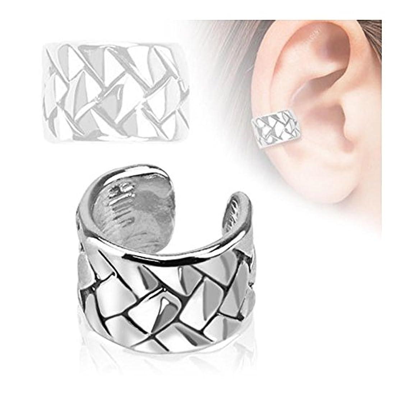 断言するコンピューターヤング織りパターンロジウムメッキ真鍮ノンピアス耳カフ販売