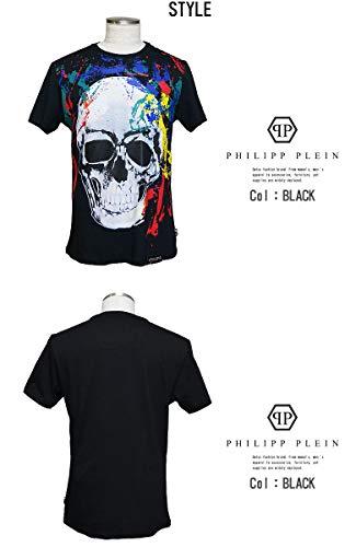 [フィリップ プレイン] 半袖Tシャツ スカル インパクト メンズ Hot プレート 革 S BLACK