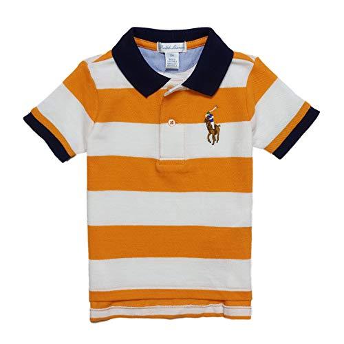 12f7878517919 (ラルフローレン)RALPH LAUREN ベビー 男の子 半袖 ポロシャツ Striped Cotton Mesh Polo Shirt オレンジ  Thai Orange (9M... ラルフローレンのUS直営店にて買い付け ...