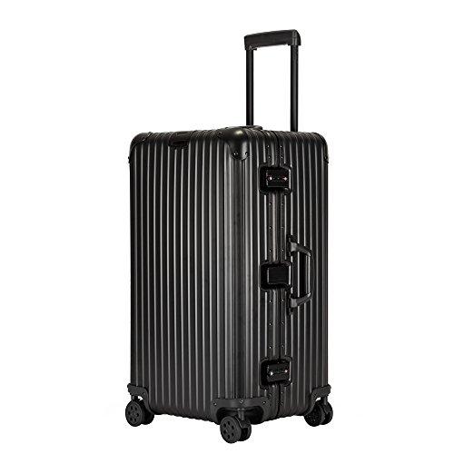 Kroeus(クロース) スーツケース アルミ・マグネシウム合金 TSAロック 大型ダブルキャスター 無段階調節キャリーバー キャリーケース 大容量 人気 説明書 ブラック