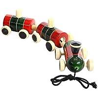 クリスマスギフトChannapatna |handmade|wooden Push and Pulling Baby Toys : Pompomレール – Wooden Pull Toy For 18ヶ月( + )ベビー